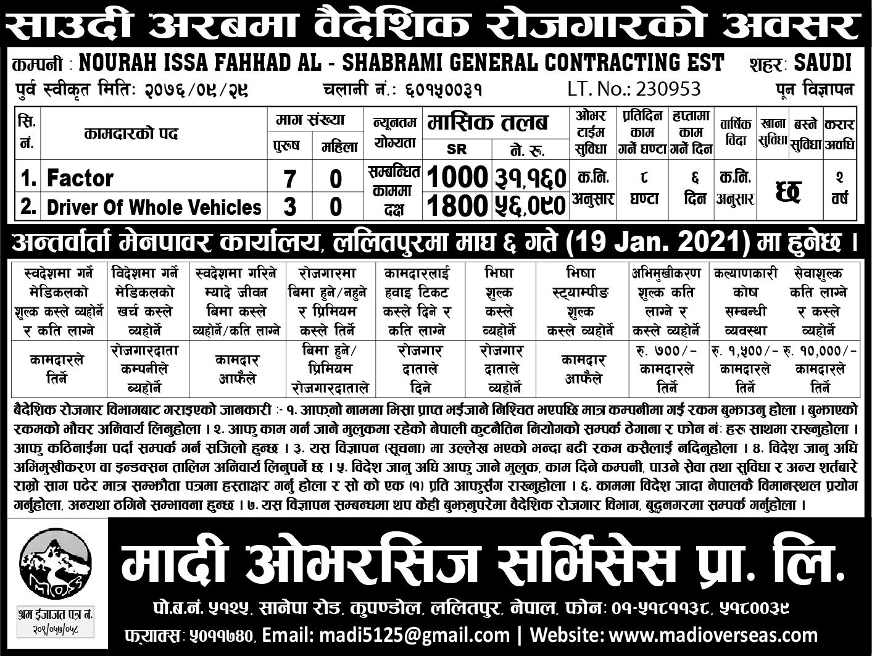 Job Demand From Saudi in nepal