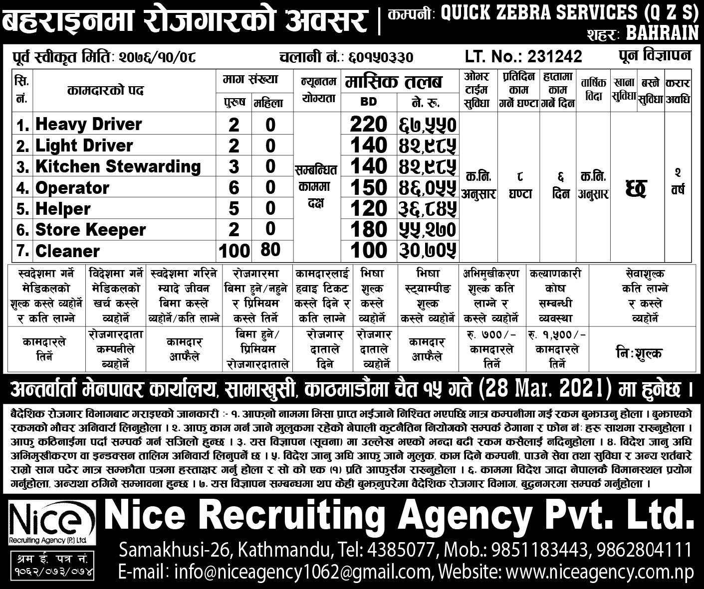 Jobs in Bahrain for Nepali
