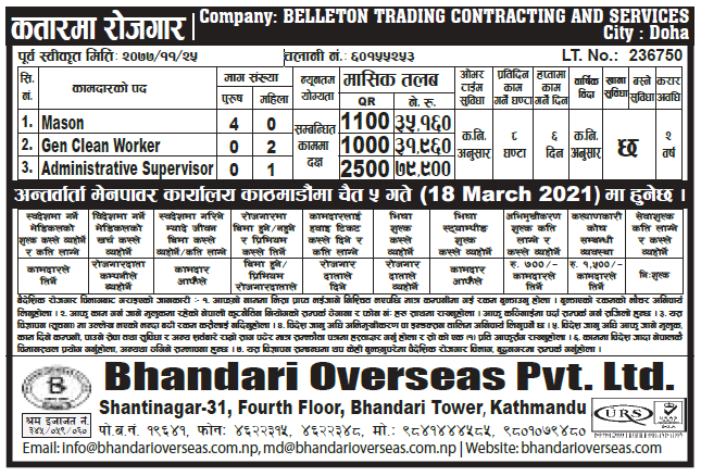Job Opportunity in Qatar for Nepalese