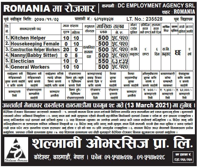 Job Demand From Romania