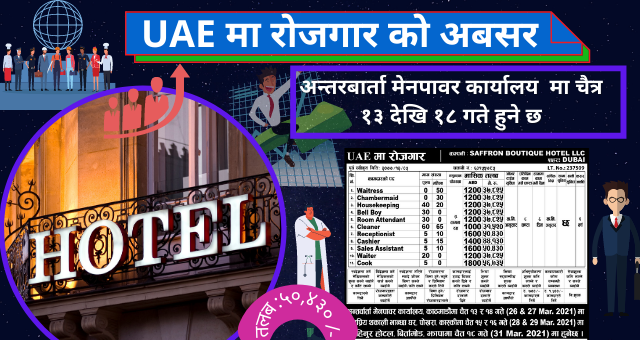 Hotel Jobs in Dubai for Nepali – Free VISA Free Ticket Job Vacancy in 5 Star Hotel in Dubai